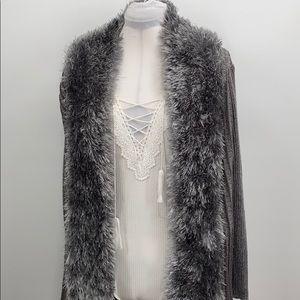Lauren Michelle metallic open faux fur cardigan